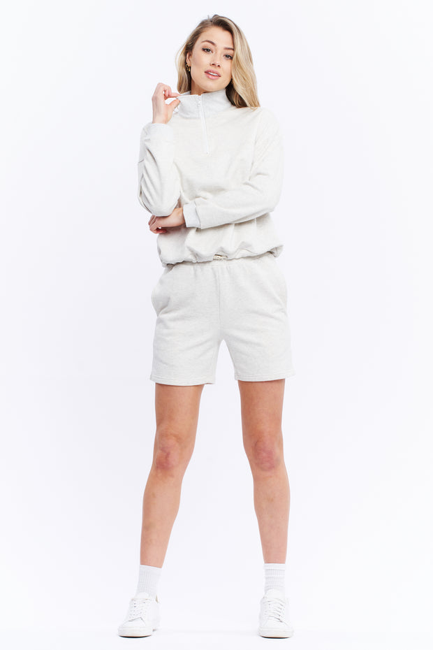 1/4 ZIP JUMPER - WHITE MARLE