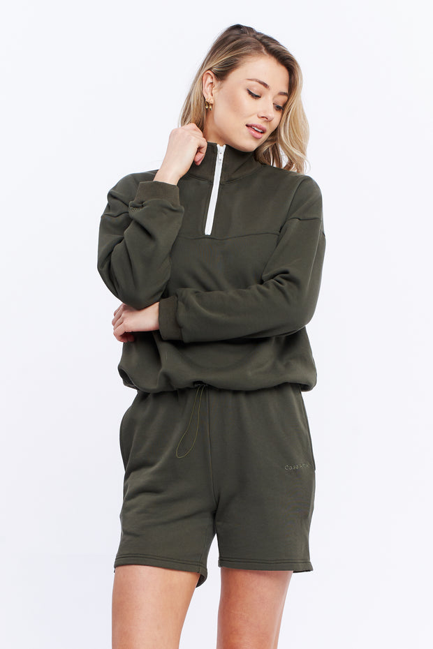 1/4 ZIP JUMPER - OLIVE