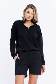 1/4 ZIP JUMPER - BLACK