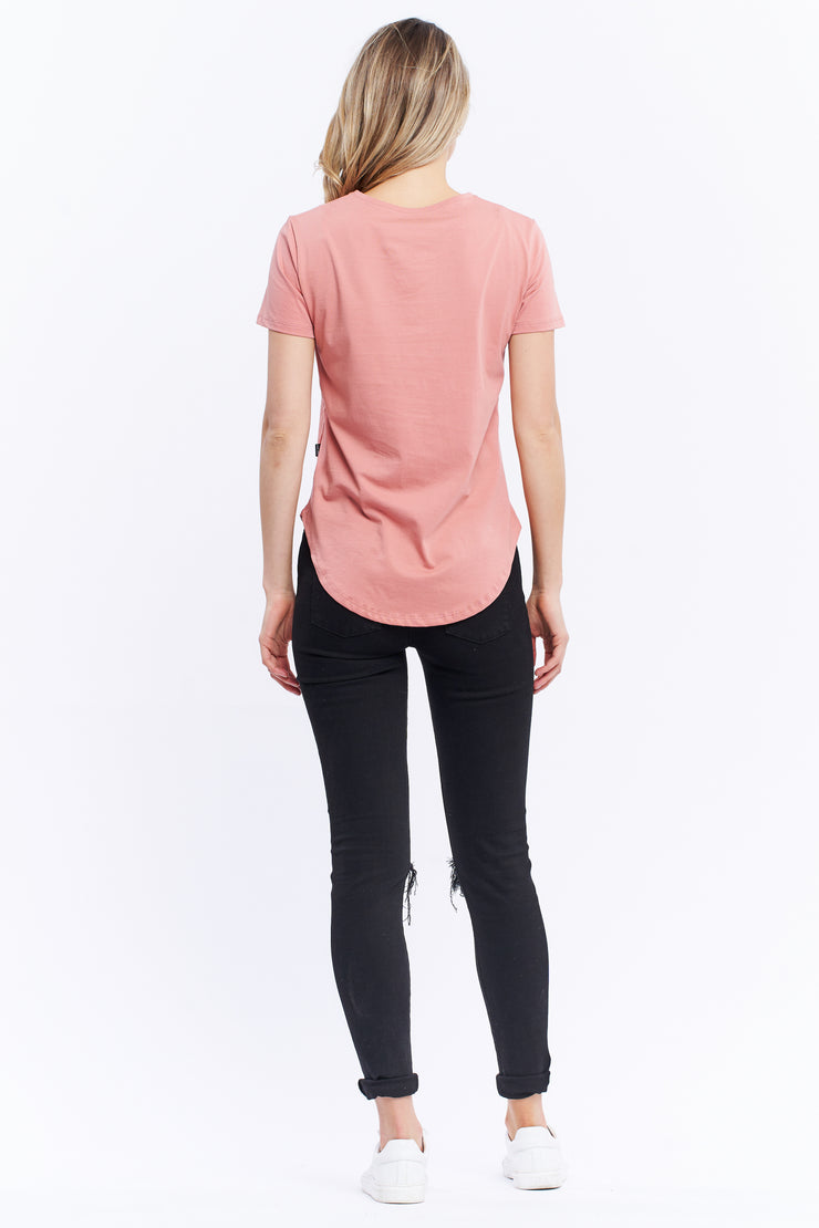 SADDLE HEM TEE - DUSTY PINK