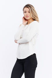 LONG SLEEVE RIB-NECK TEE - BEIGE