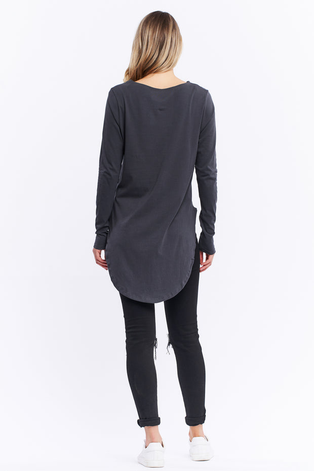 LONG SLEEVE TEARDROP TEE - ASPHALT