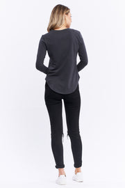 LONG SLEEVE SADDLE HEM - ASPHALT