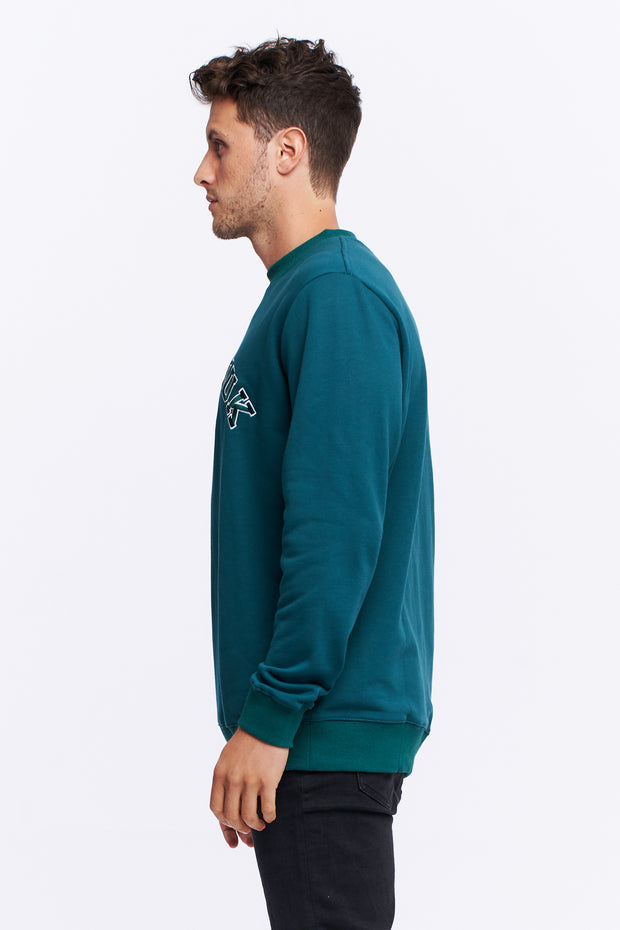 MEN'S VARSITY SWEATER - PINE GREEN/WHITE