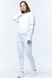 HOOPED SLEEVE WINDCHEATER - WHITE/CHILLI
