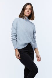 STEP COLLAR KNIT - GREY