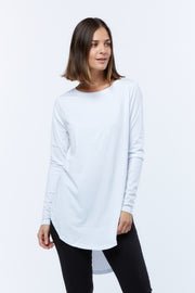 LONG SLEEVE TEARDROP TEE - WHITE