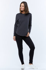 LONG SLEEVE RIB-NECK TEE - ASPHALT - PRE ORDER