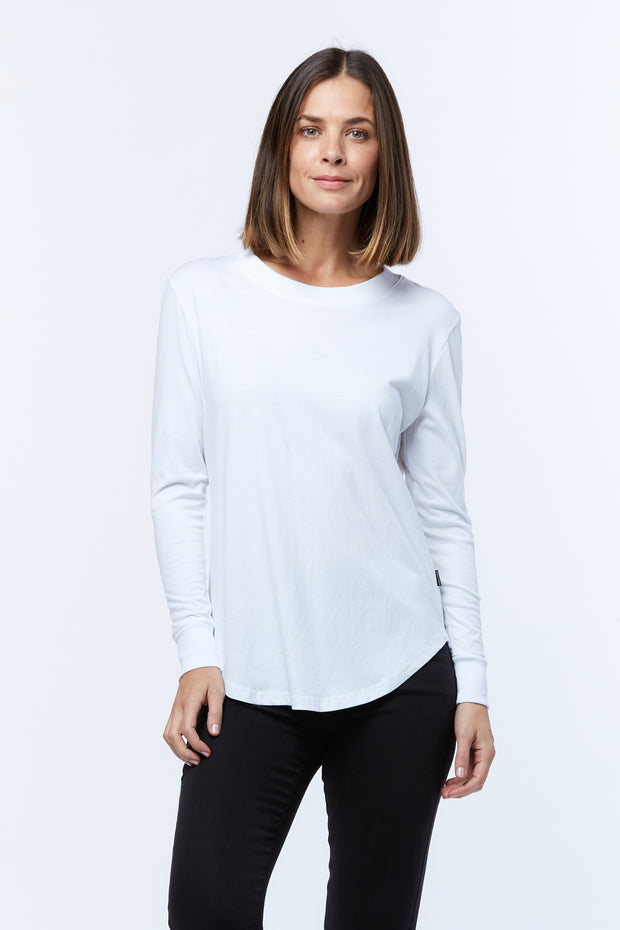LONG SLEEVE RIB-NECK TEE - WHITE - PRE ORDER