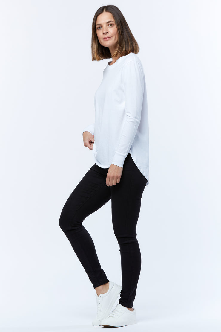 LONG SLEEVE RIB-NECK TEE - WHITE
