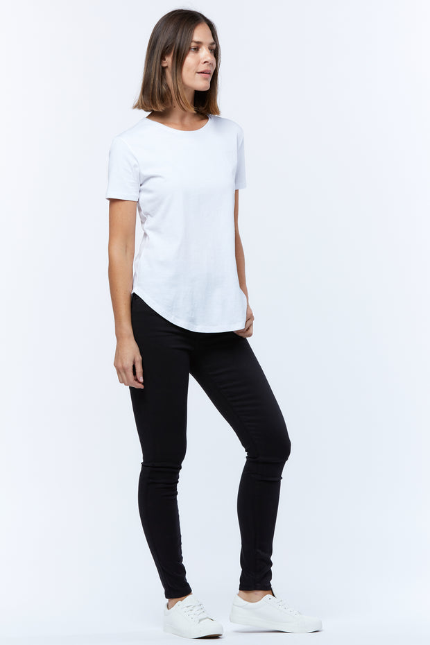 SADDLE HEM TEE - WHITE