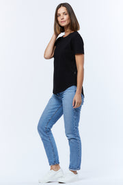 SADDLE HEM TEE - BLACK