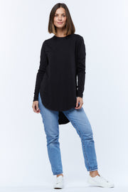 LONG SLEEVE TEARDROP TEE - BLACK