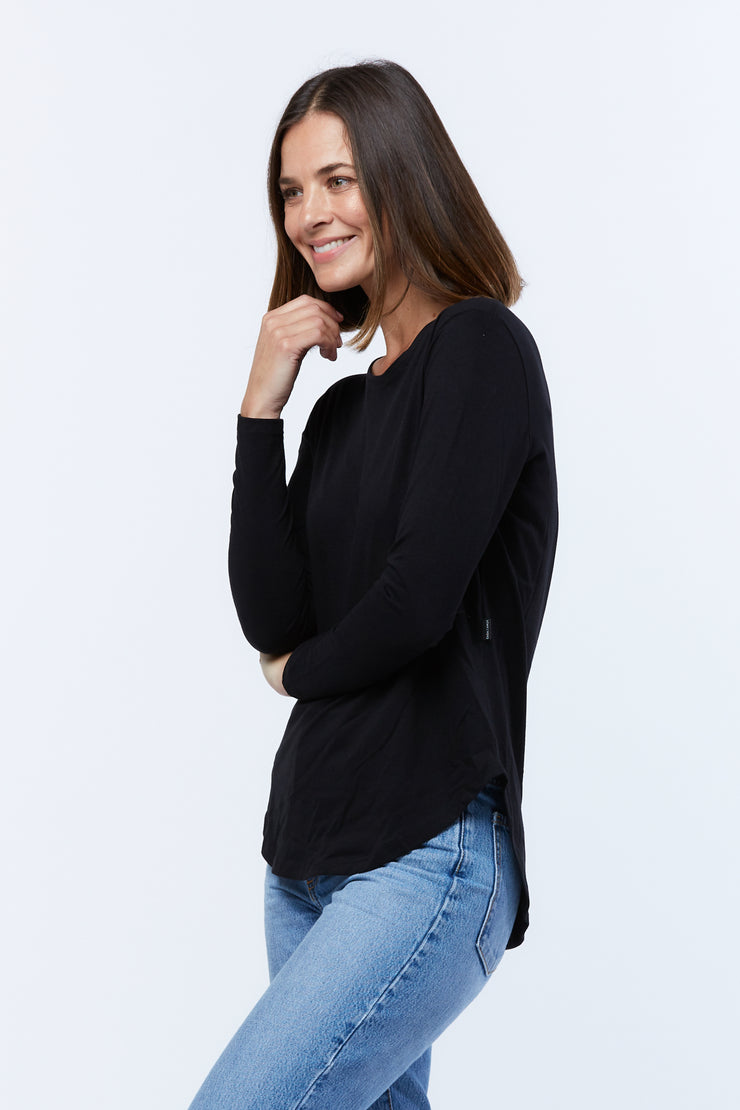LONG SLEEVE SADDLE HEM - BLACK