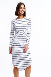 LONG SLEEVE SADDLE HEM DRESS - CLASSIC STRIPE