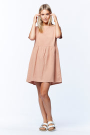 LINEN BOX DRESS - SALMON