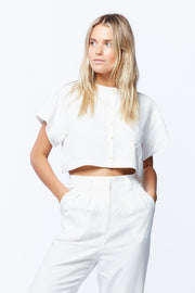 BUTTON DOWN CROP - WHITE