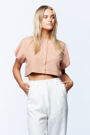 BUTTON DOWN CROP - SALMON
