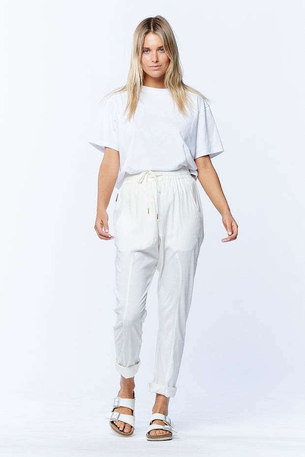 LINEN DROPCROTCH PANT - WHITE