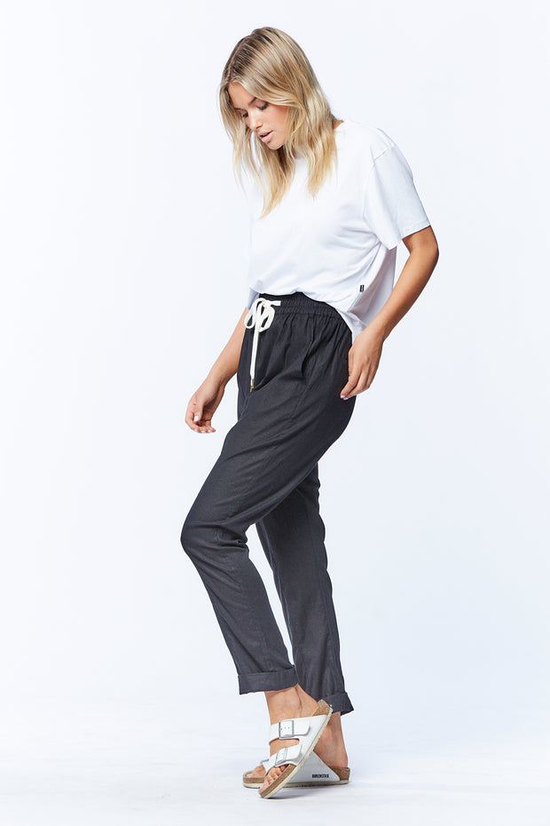 LINEN DROPCROTCH PANT - BLACK