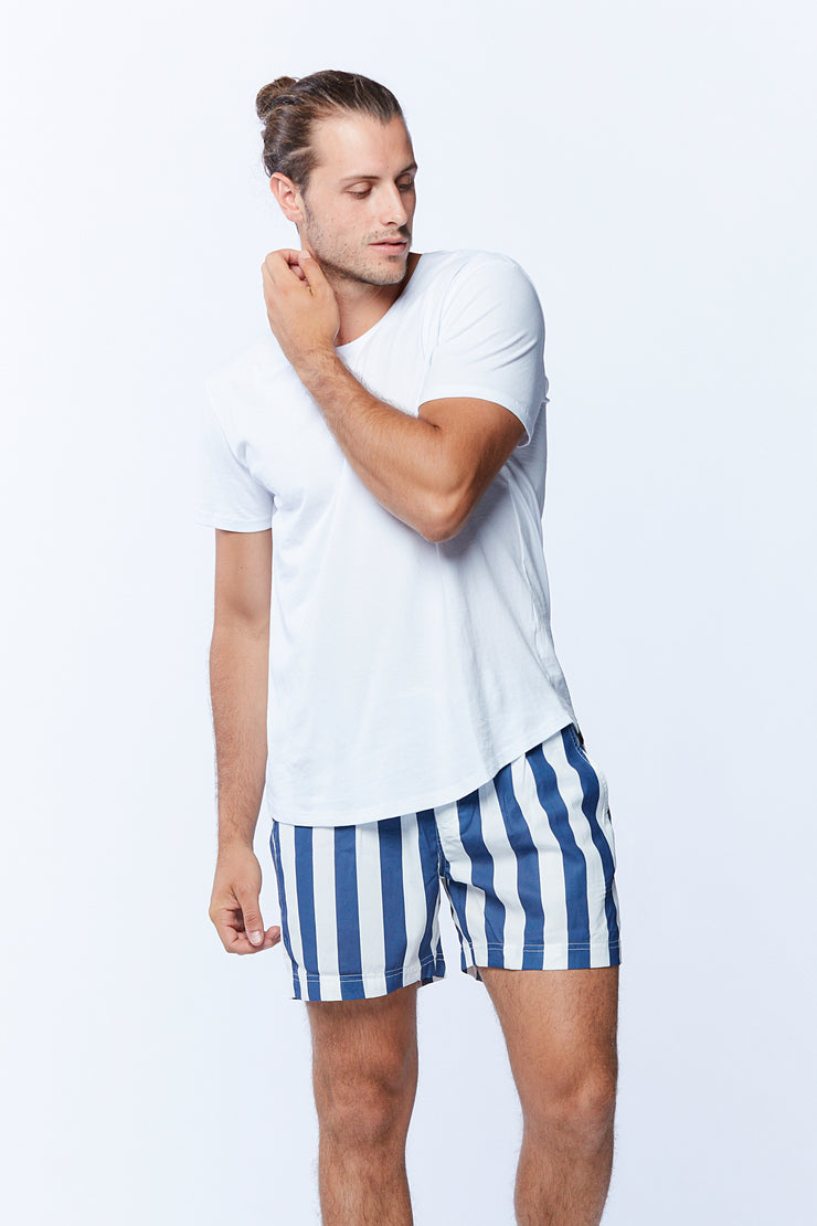 SWIMSHORT - WHITE/NAVY STRIPE