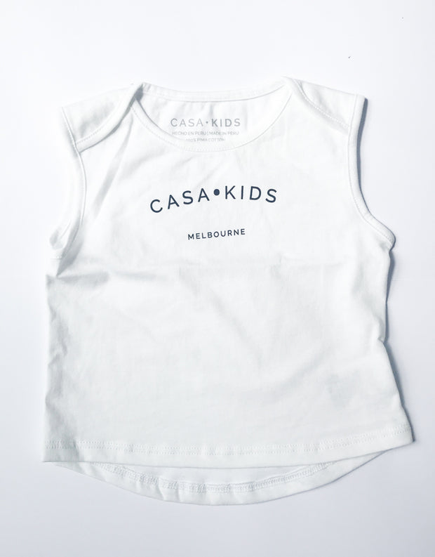 CASA KIDS MELBOURNE TANK - WHITE