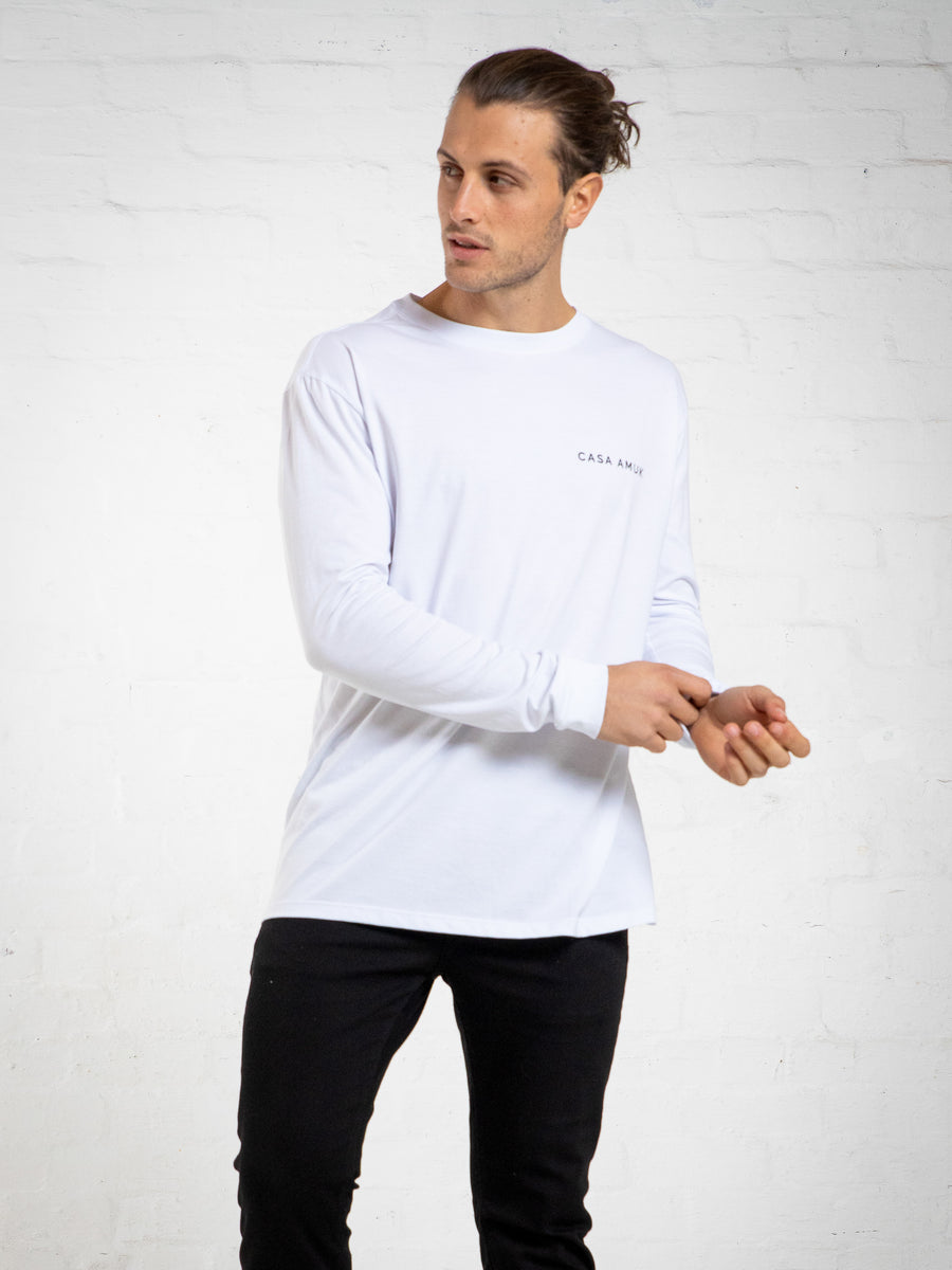 LONG SLEEVE LOGO VINTAGE TEE - WHITE
