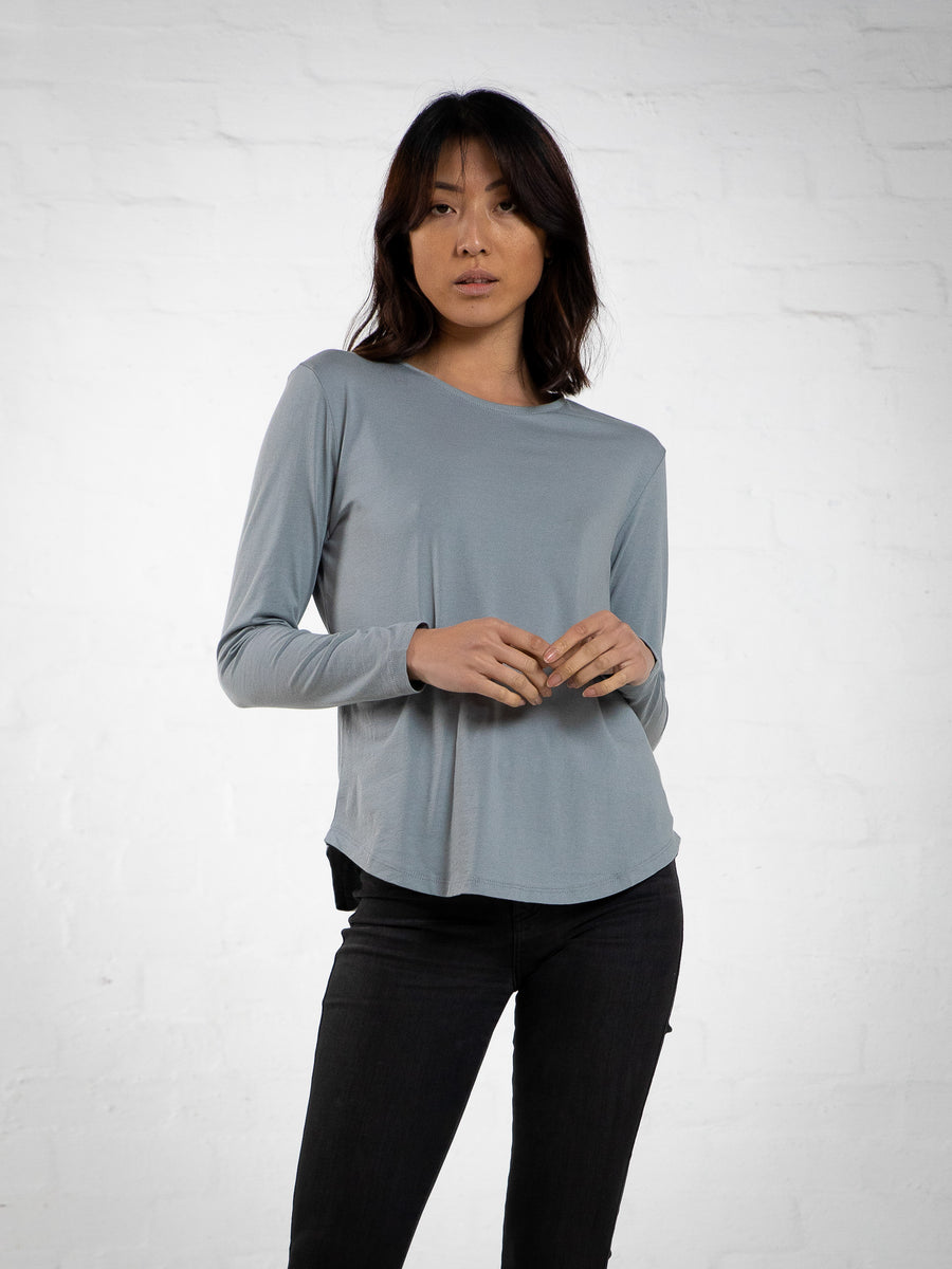 LONG SLEEVE SADDLE HEM - GREY