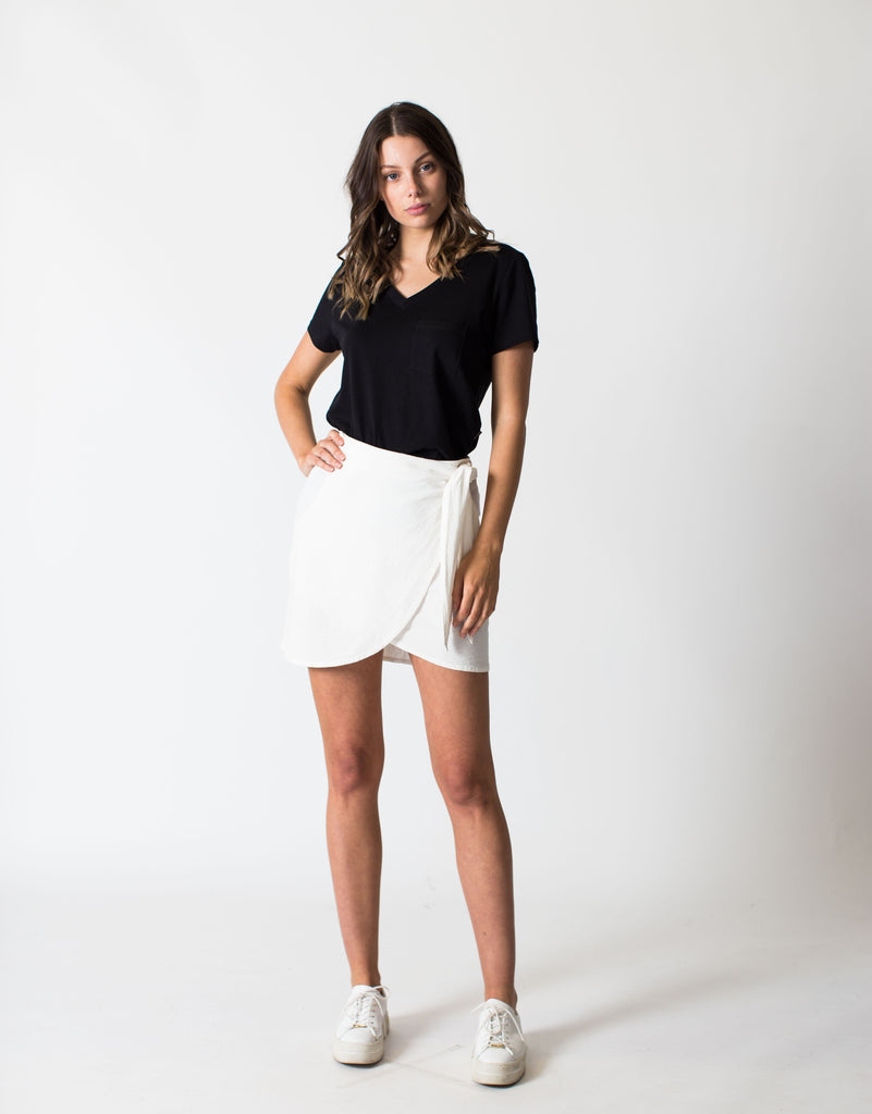 LINEN WRAP SKIRT - WHITE
