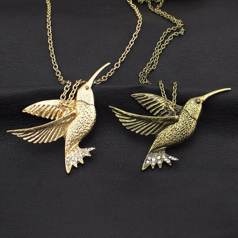 Rustic 3D Hummingbird Necklace