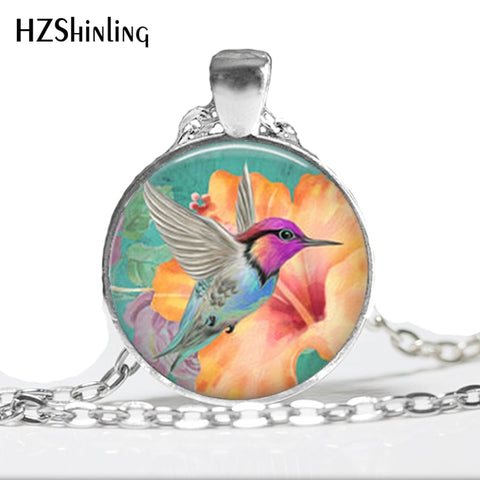 Handmade Polished Gem Hummingbird Pendant and Necklace