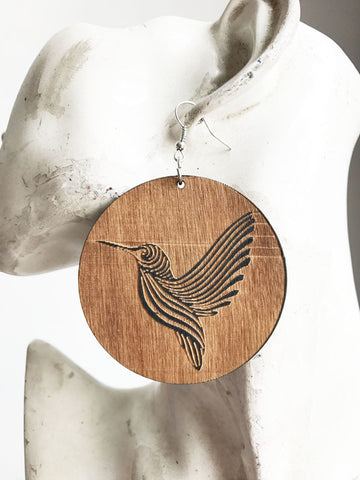 Wooden Carved Hummingbird Earrings