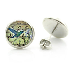 Hummingbird Art Stud Earrings Set