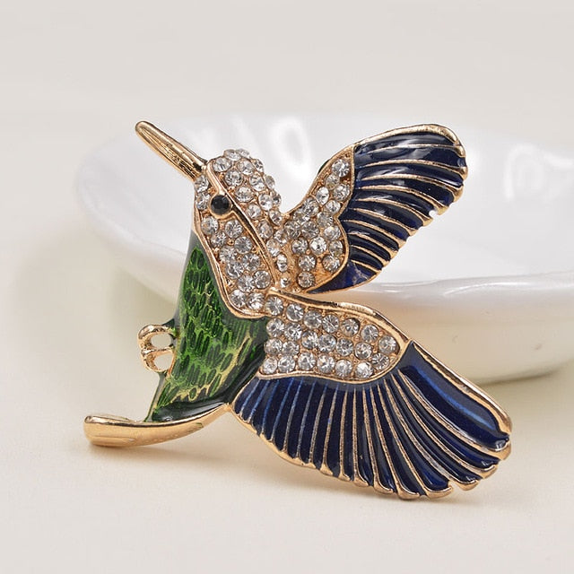 Multi-Color Gold-Plated Hummingbird Brooch