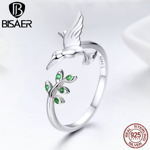 Sterling Silver Hummingbird Ring Adjustable Design