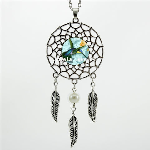 Trendy Hummingbird Necklace Dream Catcher