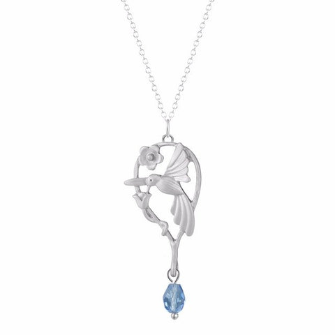 Hummingbird Floral Branch Pendant and Chain Necklace with Tear-Drop Gem
