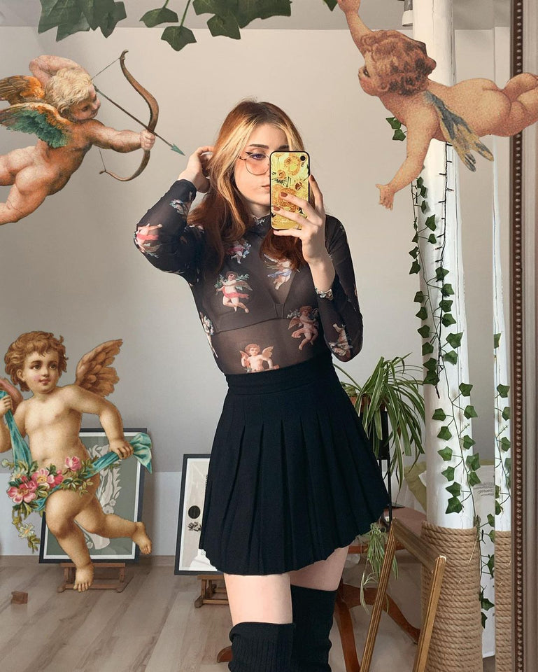 AESTHETIC ANGELS BLACK MESH TOP