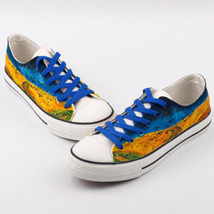 Wheatfield with crows Hand painted shoes