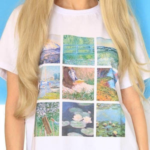 Monet Paintings grid T-Shirt
