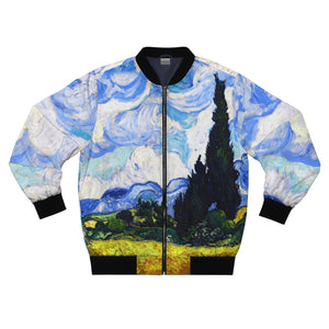 Wheat Field with Cypresses Bomber Jacket