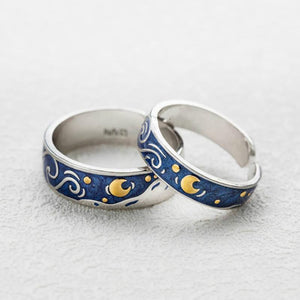Van Gogh The Starry Night Couple Rings