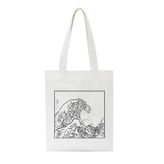 Hokusai wave bag