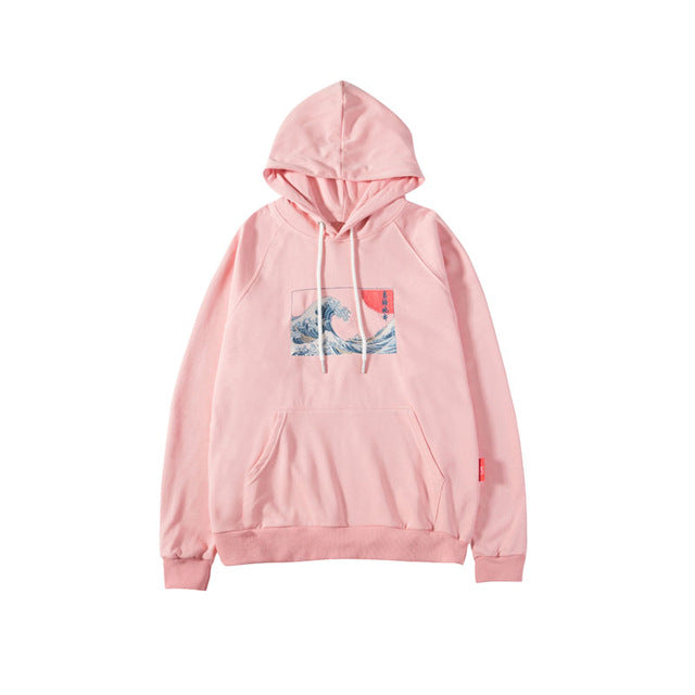 Hokusai Wave Embroidered hoodie