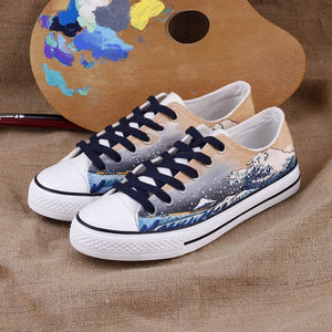 Hokusai Wave Hand painted shoes