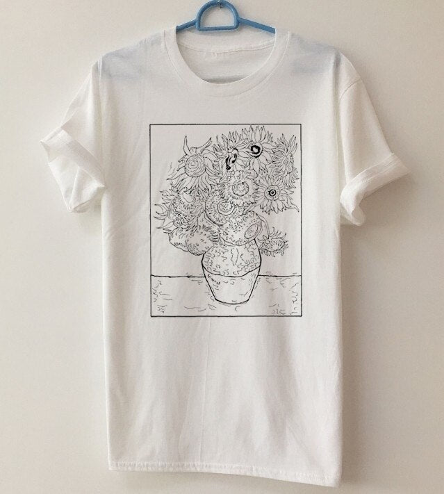Van Gogh Sunflowers outlines t-shirt