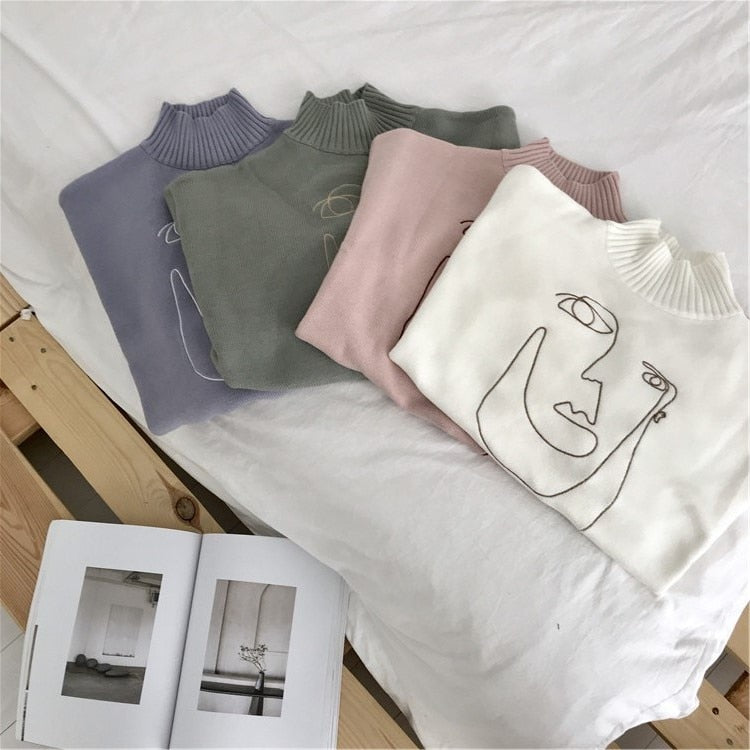 Embroidered line art face Sweater