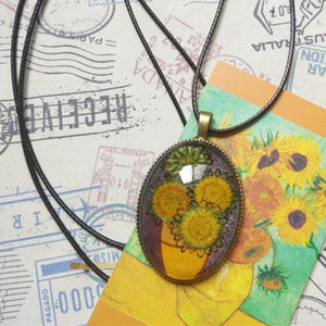 Sunflowers Glass Necklace