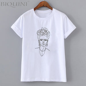 Frida kahlo Line Art T-shirt