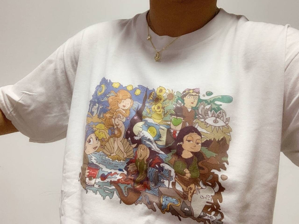 Art heros cartoon T-shirt
